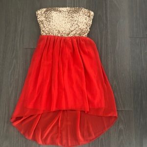 Sequined hi-lo dress perfect for the holidays!